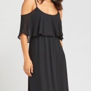 Black Chiffon Caitlyn Ruffle Maxi Dress